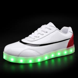 Led Luminous Color Block Athletic Shoes - RED/WHITE 37