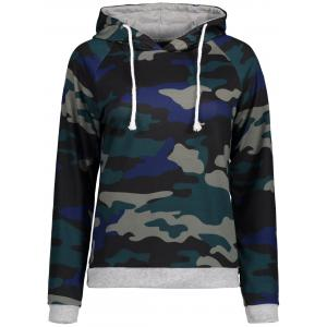 Camo Print Raglan Sleeve Hoodie - Blackish Green - 2xl