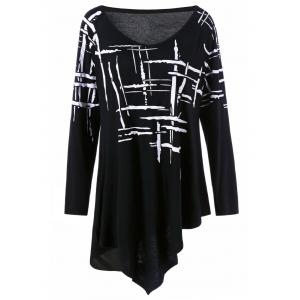 Long Sleeve Splatter Paint Plus Size Asymmetric T-Shirt