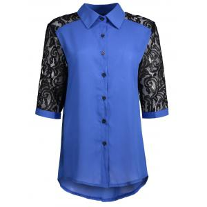 Hollow Out Plus Size Lace Shirt - Blue - 4xl