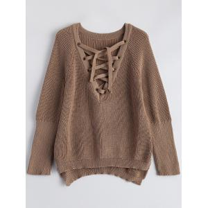 Lace-Up V Neck Pullover Sweater - Dark Khaki - L
