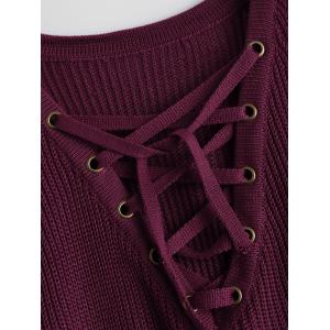Lace-Up V Neck Pullover Sweater -