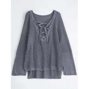 Lace-Up V Neck Pullover Sweater - Gray - S