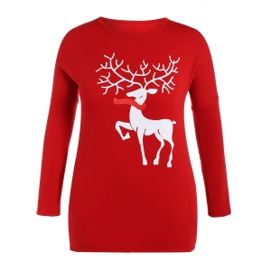 Christmas Reindeer Drop Shoulder Tunic T-Shirt