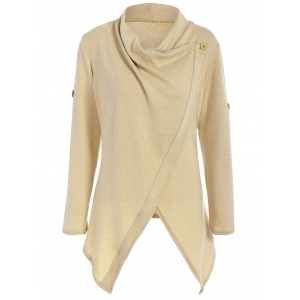 Knitted Button Asymmetric Cardigan - Khaki - M