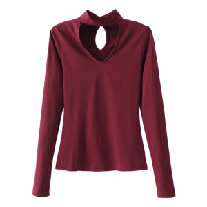 Long Sleeved Choker Tee - Burgundy - S