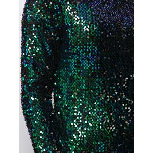 Long Sleeve Sequins Bodycon Mini Sparkly Tight Club Dress - GREEN S