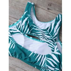 Cut Out Tropical Print Bikini Set - GREEN M