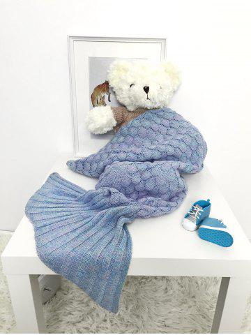 New Hollow Out Mermaid Free Knitted Photography Baby Blankets LIGHT BLUE