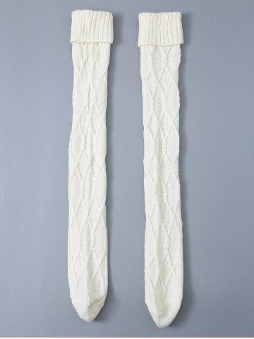 Cable Knit Flanging Woolen Yarn Crochet Stockings - White - 2xl