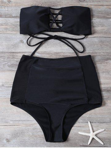 Cut Out High Waisted Lace-Up Strapless Bathing Suit - Black - S