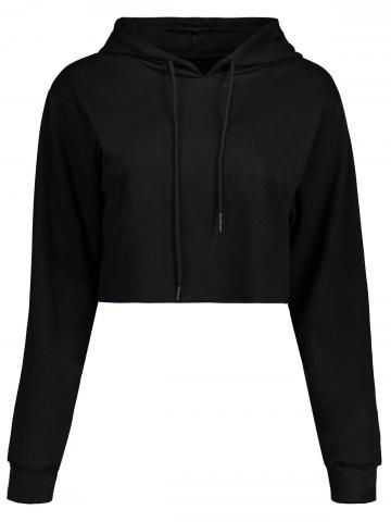 Shops Drawstring Crop Short Hoodie - BLACK S Mobile