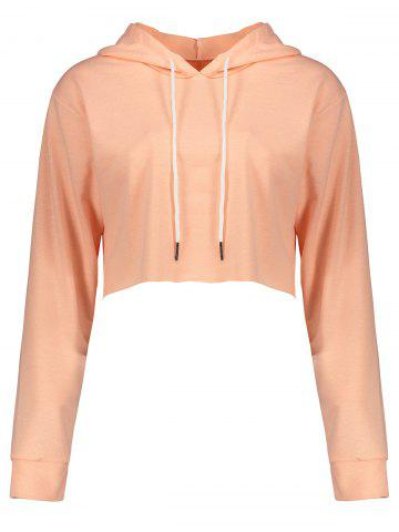 Fashion Drawstring Crop Short Hoodie - PINK L Mobile