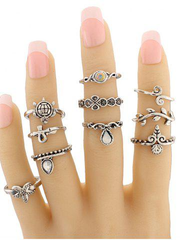 Discount Tortoise Leaf Geometric Jewelry Ring Set - SILVER  Mobile