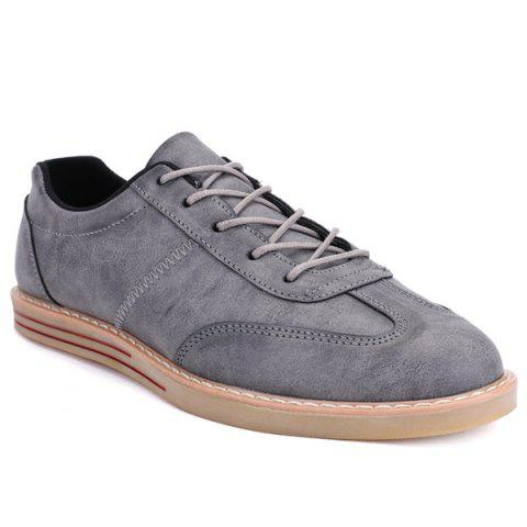 Latest Stitching Faux Leather Casual Shoes - 43 GRAY Mobile