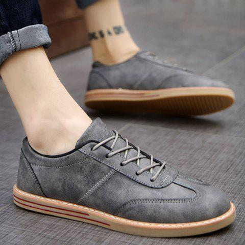 Shop Stitching Faux Leather Casual Shoes - 43 GRAY Mobile