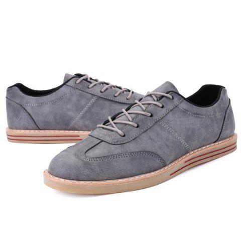 Best Stitching Faux Leather Casual Shoes - 43 GRAY Mobile