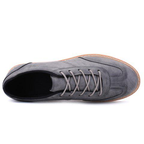 Cheap Stitching Faux Leather Casual Shoes - 43 GRAY Mobile