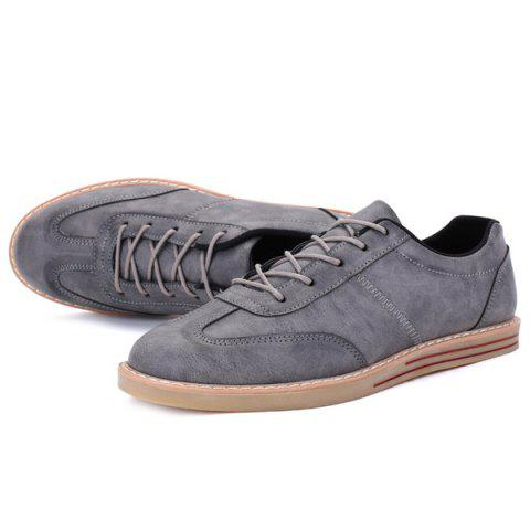 Unique Stitching Faux Leather Casual Shoes - 43 GRAY Mobile