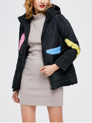 Buy Printed Hooded Quilted Jacket - M BLACK Mobile