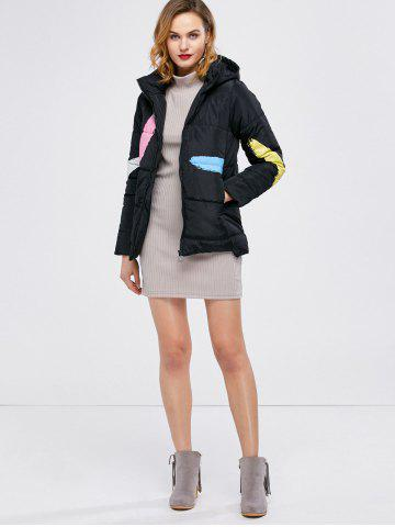 Shops Printed Hooded Quilted Jacket - M BLACK Mobile