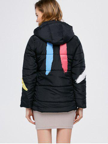 Best Printed Hooded Quilted Jacket - M BLACK Mobile
