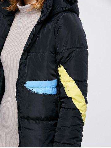 Sale Printed Hooded Quilted Jacket - M BLACK Mobile
