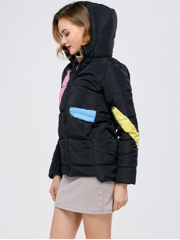 Unique Printed Hooded Quilted Jacket - M BLACK Mobile