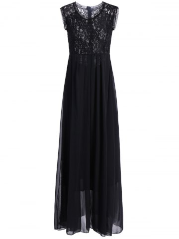 Affordable Chiffon Lace Panel Long Flowing Prom Dress