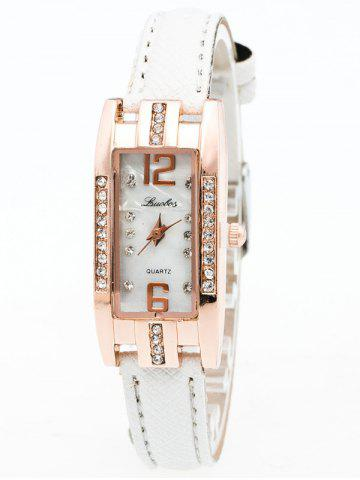 Faux Leather Rhinestone Rectangle Watch - White - 150*180cm