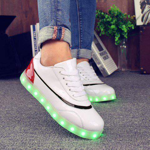 Best Led Luminous Color Block Athletic Shoes RED/WHITE 39
