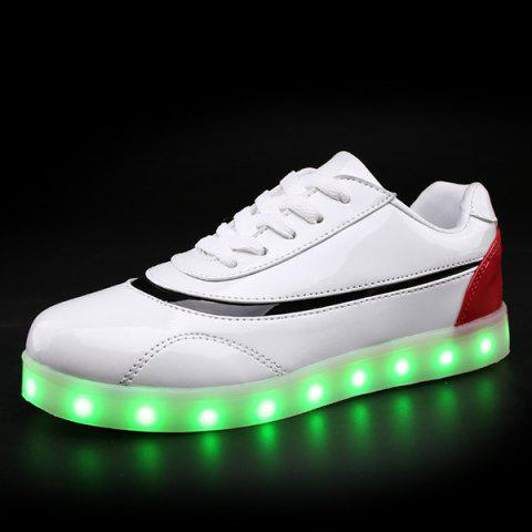 Unique Led Luminous Color Block Athletic Shoes - 38 RED WITH WHITE Mobile