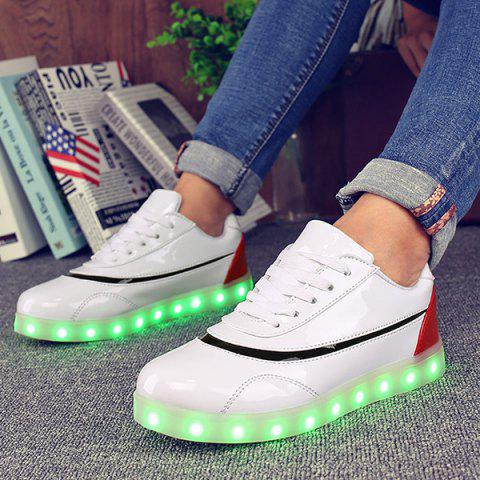 Store Led Luminous Color Block Athletic Shoes - 38 RED WITH WHITE Mobile