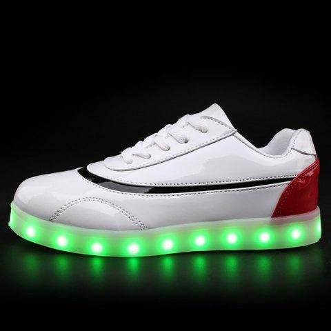 Fashion Led Luminous Color Block Athletic Shoes - 38 RED WITH WHITE Mobile