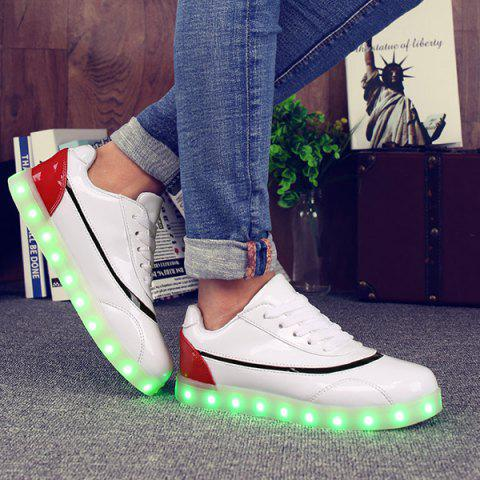 Buy Led Luminous Color Block Athletic Shoes - 38 RED WITH WHITE Mobile