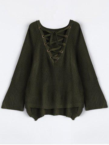 Lace-Up V Neck Pullover Sweater - Army Green - S
