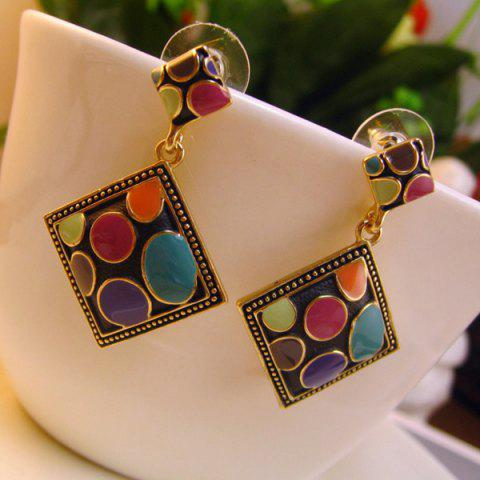 Vintage Geometric Drop Earrings - Colormix