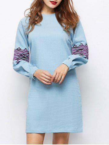 Puff Sleeve Embroidered Tunic Casual Dress - Light Blue - S