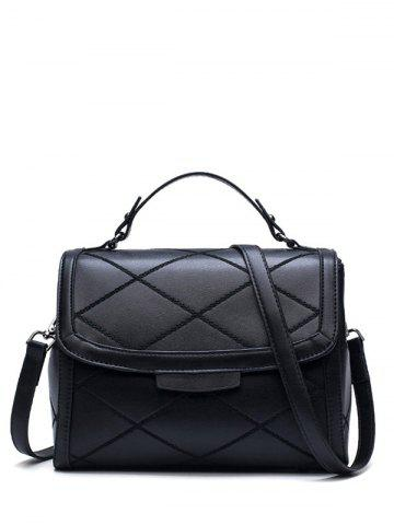 Trendy Rhombic Flapped Faux Leather Quilted Bag