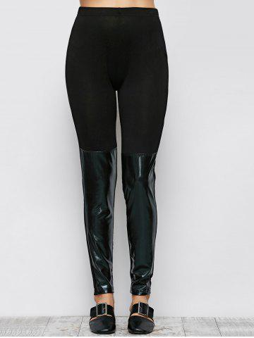 Outfits Patent Leather Panel Leggings - L BLACK Mobile