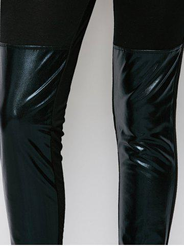 Latest Patent Leather Panel Leggings - XL BLACK Mobile