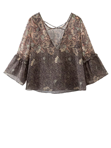 Affordable Strappy Back Printed Blouse
