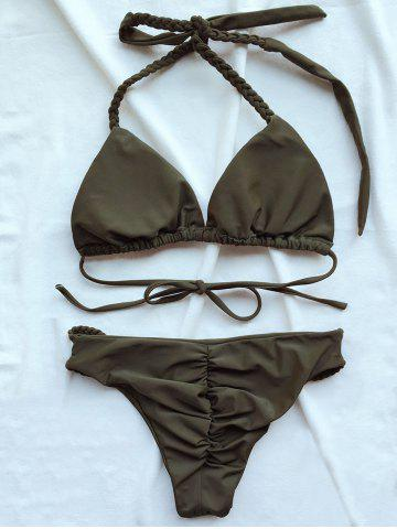 Latest Braided Halter Plunge Bikini - L ARMY GREEN Mobile