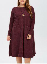 Knitted Plus Size Front Slit Dress -