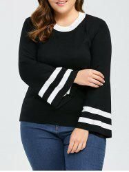 Plus Size Puff Sleeve Stripe Knit Sweater