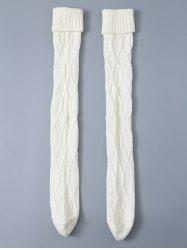 Cable Knit Flanging Woolen Yarn Crochet Stockings
