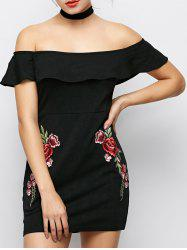 Off The Shoulder Floral Flounced Bodycon Dress -