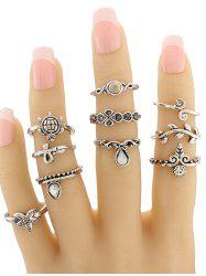 Tortoise Leaf Geometric Jewelry Ring Set - SILVER