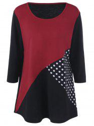 Plus Size Polka Dot Panel T-Shirt - BLACK AND WHITE AND RED