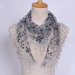 Casual Wintersweet Embroidery Tassel Triangle Trim Lace Scarf - GRAY
